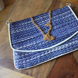 Holt Renfrew Chain Clutch Blue Bag